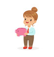 cute happy little girl businesswoman holding a vector image vector image
