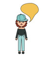 cute woman with sport cap and speech bubble vector image