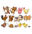 Different type of farm animal and pet vector image