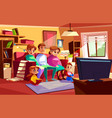 family watching tv cartoon vector image