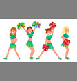 female cheerleader different poses vector image vector image