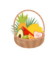 fresh ripe fruits in wooden basket healthy vector image