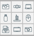 gadget icons set with call printer presentation vector image vector image
