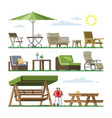 garden furniture table chair seat on vector image