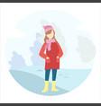 girl walks in winter in park vector image vector image