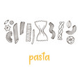 hand drawn pasta collection vintage line art vector image
