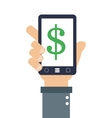 hand holding cellphone with dollar sign on screen vector image