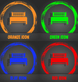 Hotel bed icon sign Fashionable modern style In vector image vector image