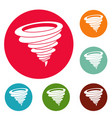 hurricane icons circle set vector image
