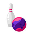icon skittle and bowling ball in flat style vector image