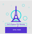 lets explore the beauty of eiffel tower paris vector image