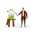 man artist work with oil paints drawing process vector image