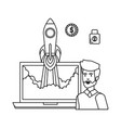 man with laptop and rocket start up vector image vector image
