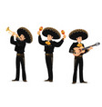 mariachi mexican musicians band cartoon characters vector image vector image