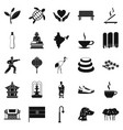 martial arts icons set simple style vector image