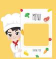 menu chef boy vector image vector image