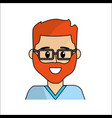 people happy face man with glasses icon vector image vector image