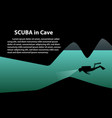 scuba in cave background with space art vector image