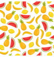 Seamless pattern with bananas pineapples and vector image vector image