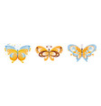 set beautiful colorful butterflies flying vector image vector image