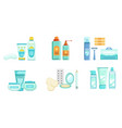 set hygiene products for shower vector image