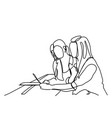 sketch girls using digital tablet computer doodle vector image
