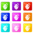 swarm icons set 9 color collection vector image vector image