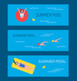 swimming pool banner with people bathing vector image vector image