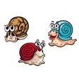 Three smiling colorful cartoon snails vector image vector image