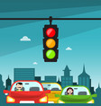 traffic lights in city cars with buildings on vector image