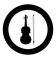 violin icon black color in circle vector image vector image