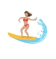 Woman In Red Bikini Riding A Wave On Surf vector image vector image