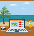 working freelance on a beach concept vector image vector image