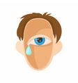 Head with eye crying icon cartoon style vector image