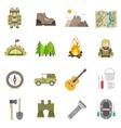 Tourism Icons Flat Set vector image