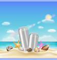 aluminium beverage can and sea shell starfish vector image