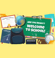back to school college books and diploma poster vector image
