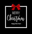 black christmas background with square frame vector image