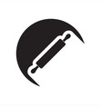 black icon with rolling pin vector image