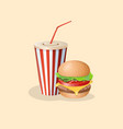 burger and soda in a paper cup vector image vector image