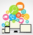 Business Internet on Different Electronic Devices vector image