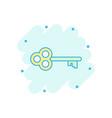 cartoon key icon in comic style secret keyword vector image vector image