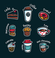 coffee set colorful doodle style cartoon set of vector image