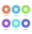 Colored aperture disc icon set vector image