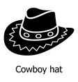 cowboy hat icon simple black style vector image vector image