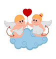 cupid couple with a heart shape balloon vector image vector image