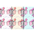 cute elephant with flowers seamless pattern vector image