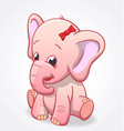 cute infant pink elephant sitting and smiling baby vector image