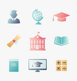 education icons set with various symbols of vector image