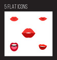 flat icon mouth set of tongue laugh lips and vector image vector image